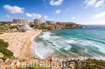 Vista Golden Bay praia em Malta