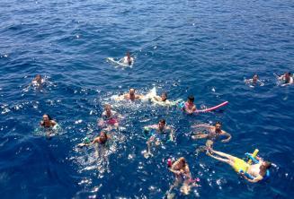 Um grande grupo de alunos de inglês nadando juntos
